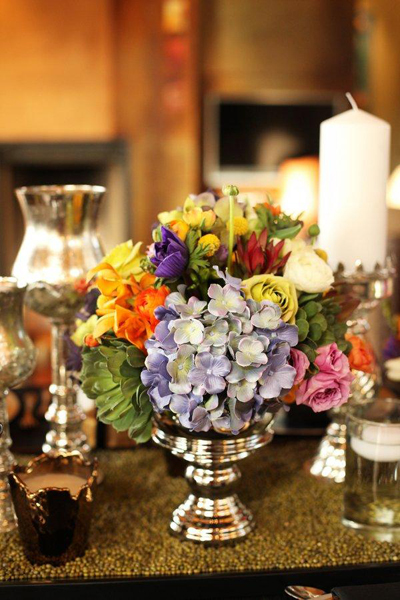 multi-colored flower centerpiece
