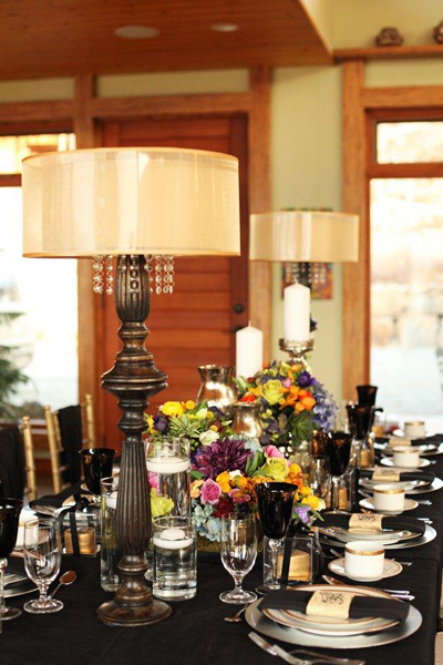 black wedding linens