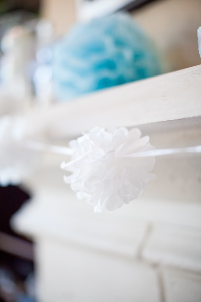 DIY paper pom wedding decor