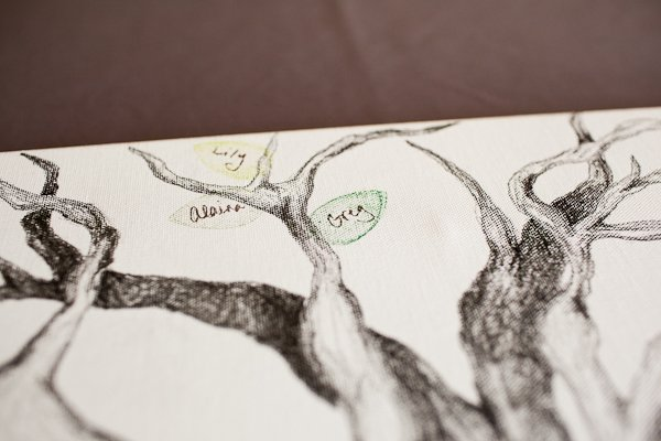 stamped tree guest book