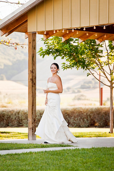 bride on reception grounds