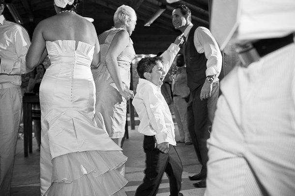 young wedding guest dancing