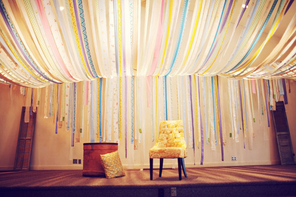 Wedding arch ideas for Ceiling streamers
