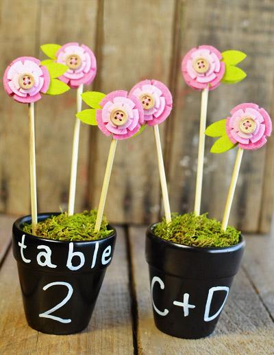 DIY Chalkboard Flower Pot Favors