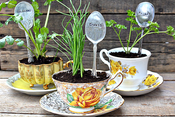 herb favors stamped spoons