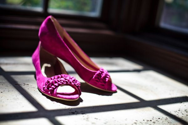 pink ruffled wedding shoes
