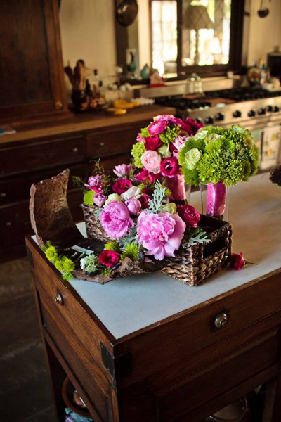 pink peony and rose wedding arragements