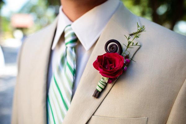 rustic red rose boutonniere