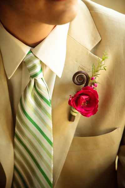 green and white striped tie with beige suit