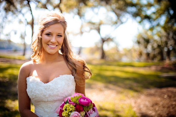 bride in strapless sweetheart gown