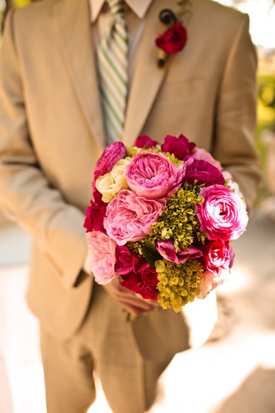 pink garden rose wedding bouquet