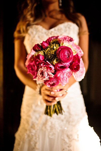 pink rose and ranunculus wedding bouquet