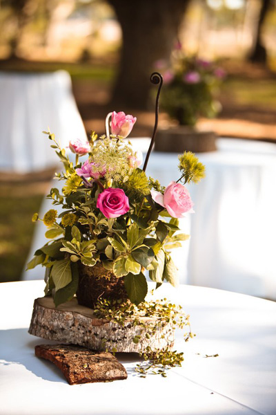 rustic wedding arrangement