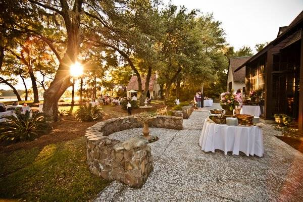 outdoor South Carolina wedding reception at sunset
