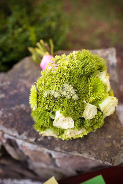 white rose and green wedding bouquet