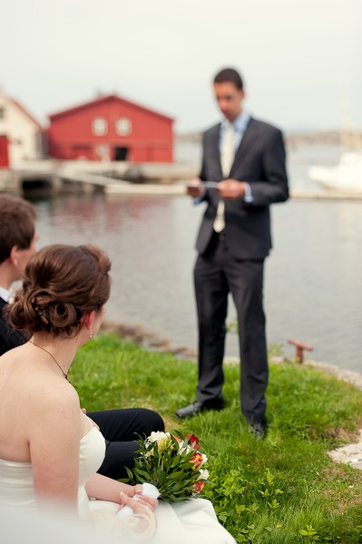 bride and groom at elopement ceremony in Norway