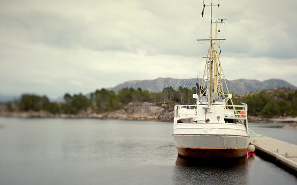 boat in harbor at Norwegian elopement
