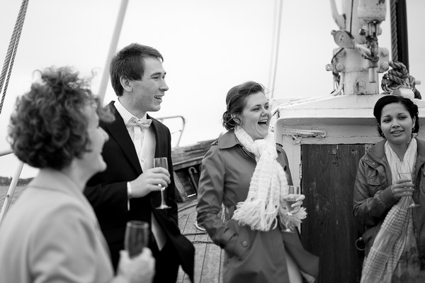 elopement reception on boat in Norway