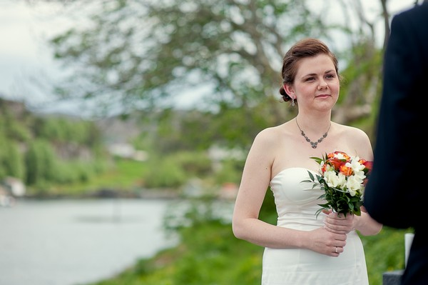 bride at Norwegian elopement ceremony