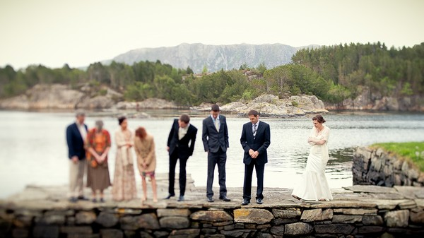 bridal party by the sea