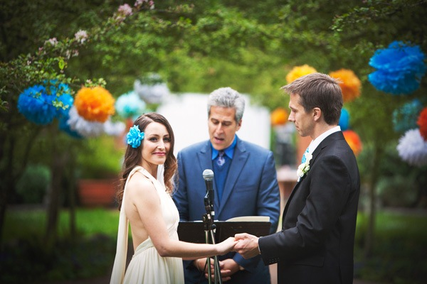 wedding ceremony in Golden Gate park with tissue paper pom poms