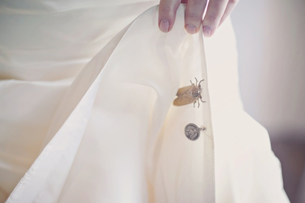bug on inside of bride's dress
