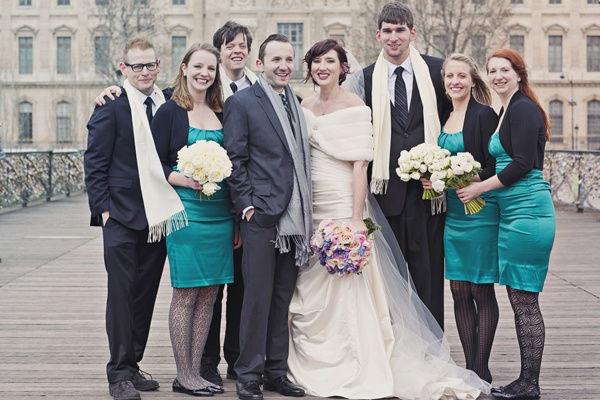 bridal party portrait in Paris
