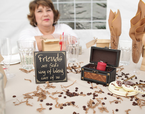 Coffee themed backyard wedding
