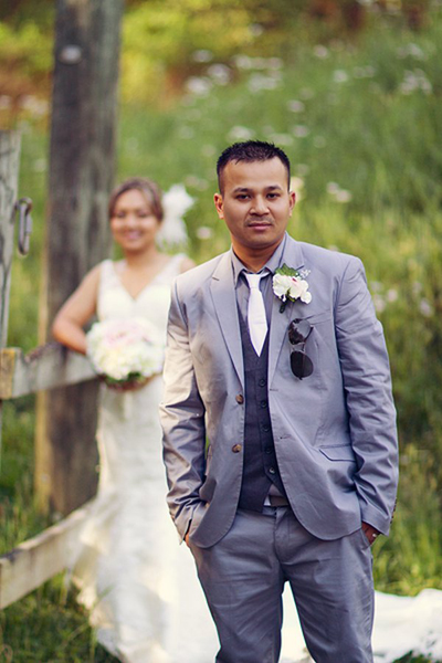 Groom in H&M suit