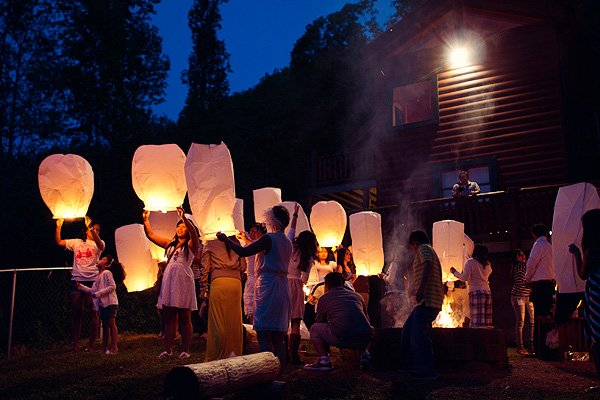 wedding guests releasing paper wish lanterns