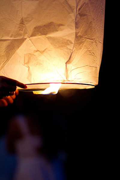 lighting a sky lantern