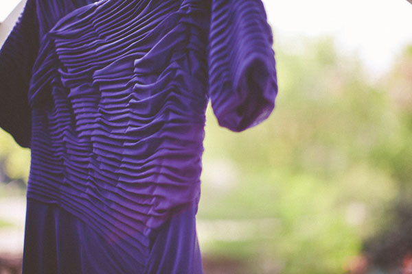 purple wedding dress ruching detail