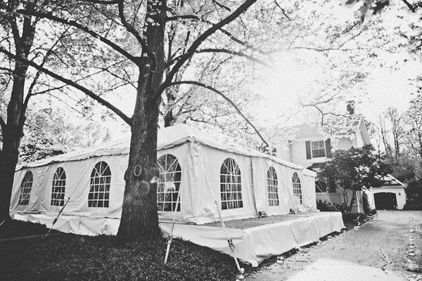 wedding tent set up in backyard