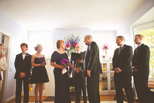 wedding ceremony in living room