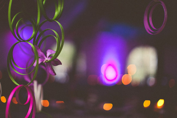 green and purple wedding decor