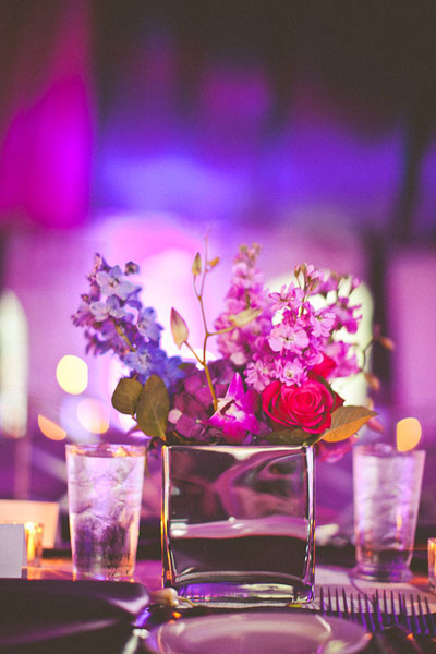purple wedding flower arrangement