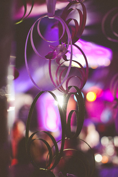 purple and green hanging wedding decor