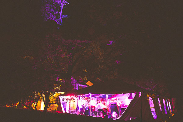 purple lit wedding tent