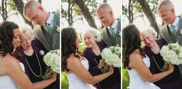 bride and groom with grandma