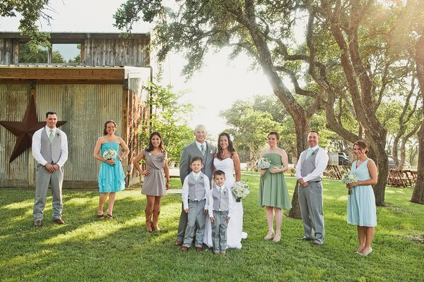bridal party portrait on the ranch