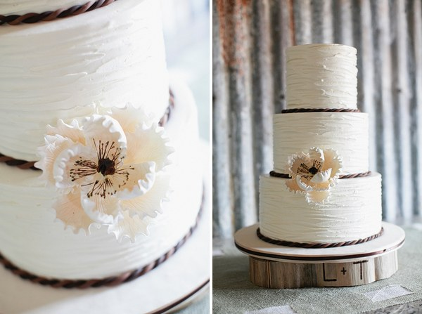 white ruffled wedding cake with rope detail