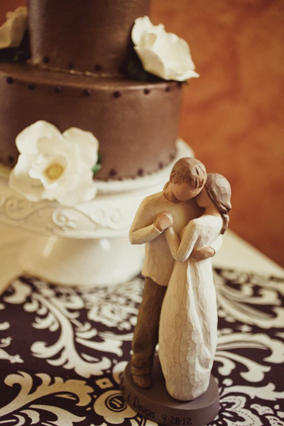 wooden bride and groom