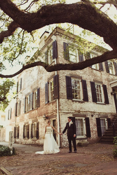 bride and groom in Savannah