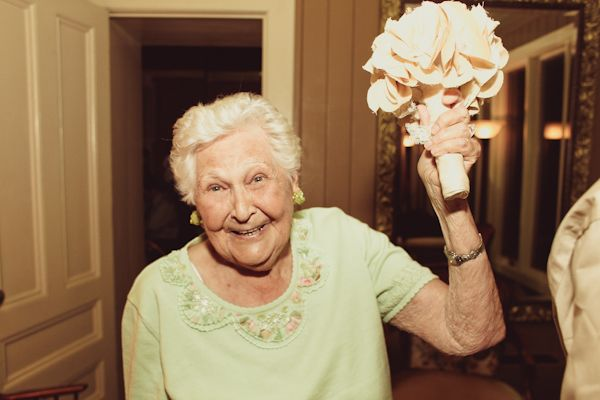 grandma with the wedding bouquet