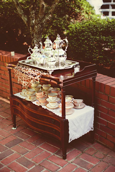 silver wedding tea service at wedding