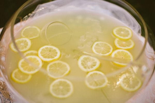 lemonade in punch bowl