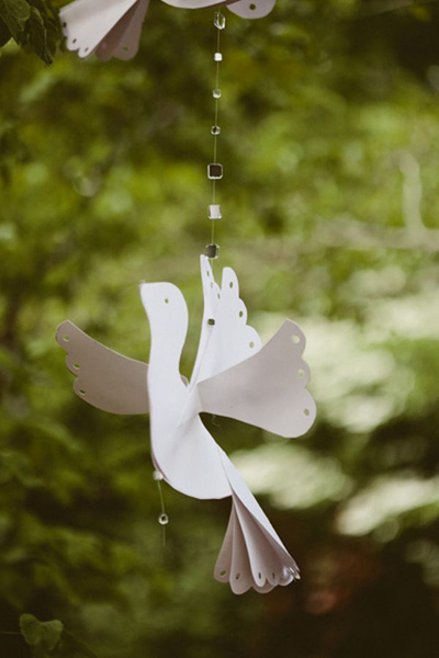 hanging paper dove wedding decor