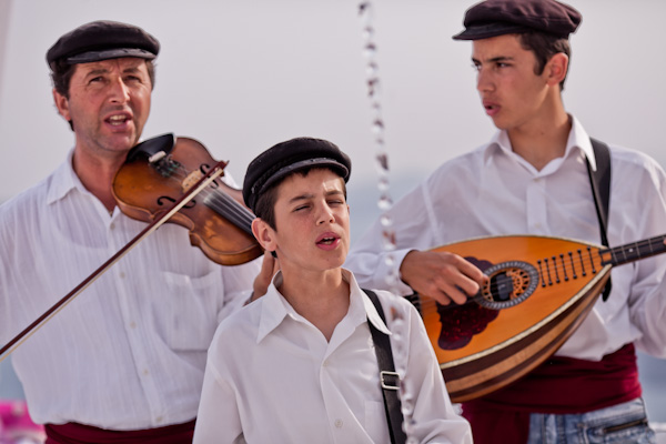 Greek musicians at Santorini wedding ceremony