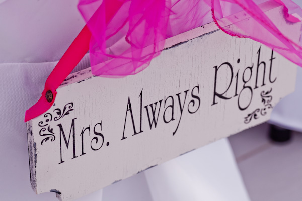 Mrs. Always right sign on bride's chair