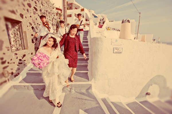 bridal procession with Greek musicians in Santorini